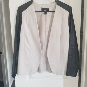 Blazer with faux leather sleeves